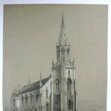 Arte: MAGISTRAL OBRA ORIGINAL FIRMADO P. DROZ, TRINITY CHURCH STOCKTON , FECHADO 1845, EXCELENTE CALIDAD. Lote 46484104