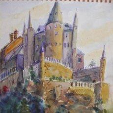 Arte: ACUARELA - ANÓNIMA - CASTILLO EN ALEMANIA. Lote 46750258