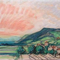 Arte: MARAVILLOSO PAISAJE EN PASTEL CON INTERESANTE TRAZO IMPRESIONISTA, FIRMADO Y FECHADO 1946. Lote 46762929