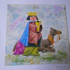 Arte: FELICITACION DE NAVIDAD ORIGINAL PINTADA CON ACUARELA Y FIRMADA POR EL DIBUJANTE PEÑUELAS. 19X19 CM.. Lote 46764451