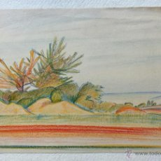 Arte: EXTRAORDINARIO PAISAJE ORIGINAL, MARAVILLOSO TRAZO IMPRESIONISTA, FIRMADO Y FECHADO 1932, ART DECO. Lote 46767038