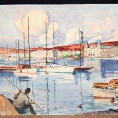 Arte: ANONIMO. ACUARELA SOBRE PAPEL. PUERTO DE BARCELONA. Lote 189465127