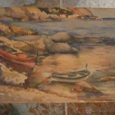 Arte: ACUARELA, MARINA DE LA COSTA BRAVA DE LLAVERIAS, ORIGINAL BUEN ESTADO, 47'5 X 32'5 CM. . Lote 47424829