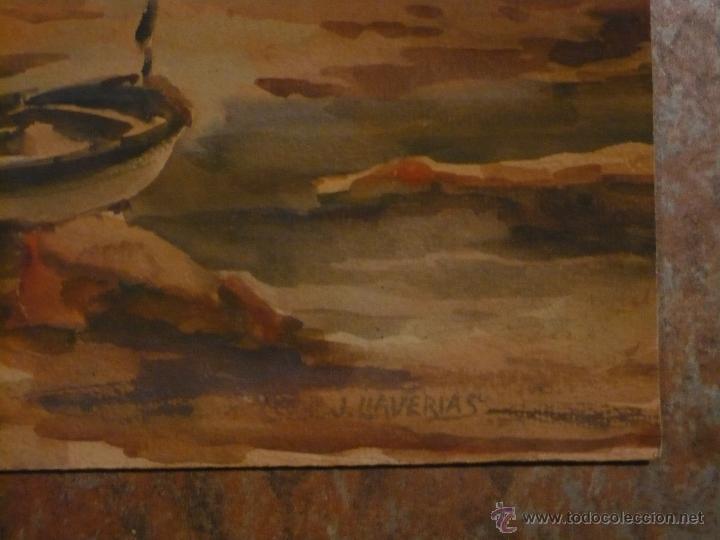 Arte: Acuarela, Marina de la Costa Brava de Llaverias, Original buen estado, 475 X 325 cm. - Foto 2 - 47424829
