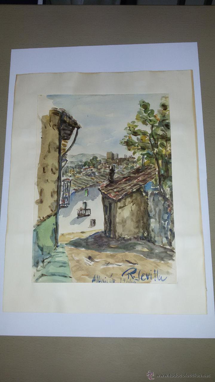 INTERESANTE ACUARELA SOBRE EL ALBAICÍN,HACIA 1960-FIRMADA (Arte - Acuarelas - Contemporáneas siglo XX)