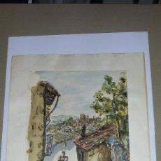 Arte: INTERESANTE ACUARELA SOBRE EL ALBAICÍN,HACIA 1960-FIRMADA. Lote 47616189