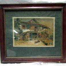 Arte: CUADRO ACUARELA SOBRE PAPEL R. CUETOS 1926. Lote 47642629