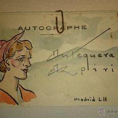 Arte: 1952 - PEDRO ANTEQUERA AZPIRI - TARJETA DE PRESENTACIÓN - ACUARELA ORIGINAL CON AUTÓGRAFO. Lote 47865085