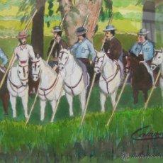 Arte: GRAN PINTURA TAURINA REJONEO CABALLOS CAMPO AL ACUARELA JULIO TRIGO CAMPOY. Lote 47881942