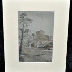 Arte: ANTONI RIGALT I BLANCH (BARCELONA, 1861 - 1914) DIBUJO A LÁPIZ Y ACUARELA SOBRE PAPEL. PAISAJE. Lote 48017859