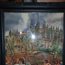 Arte: BONITA ACUARELA DE LA CATEDRAL DE MALLORCA DEL PINTOR GUILLERMO SANCHIS. Lote 48285025