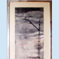 Arte: VISTA CON POSTE ELECTRICO DE TREN Y VIA EN SU PASO POR -LA MANCHA - FDO. R.CASILLAS 66 MED.74 X 28. Lote 48326350