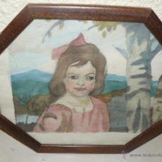 Arte: ACUARELA - ANÓNIMO - RETRATO INFANTIL. Lote 48431251