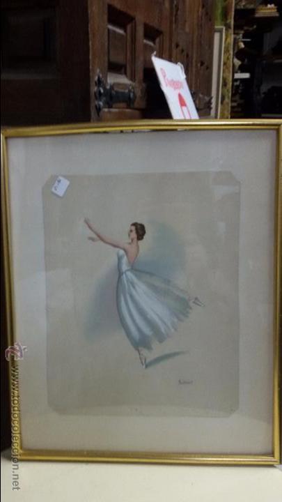 ACUARELA -BAILARINA DE DANZA - FIRMADA MONSERRAT (Arte - Acuarelas - Contemporáneas siglo XX)