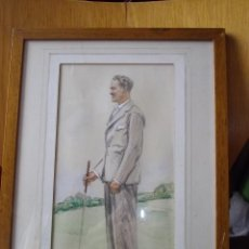 Arte: GENIAL ACUARELA DIBUJO RETRATO CUADRO FIRMADO 1937 HOMBRE CABALLERO GOLFISTA FUMAR ELEGANTE GOLF. Lote 48482393