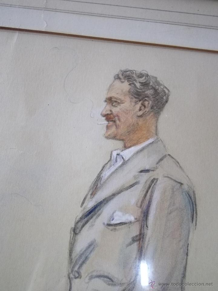 Arte: Genial acuarela dibujo retrato cuadro firmado 1937 hombre caballero golfista fumar elegante GOLF - Foto 2 - 48482393