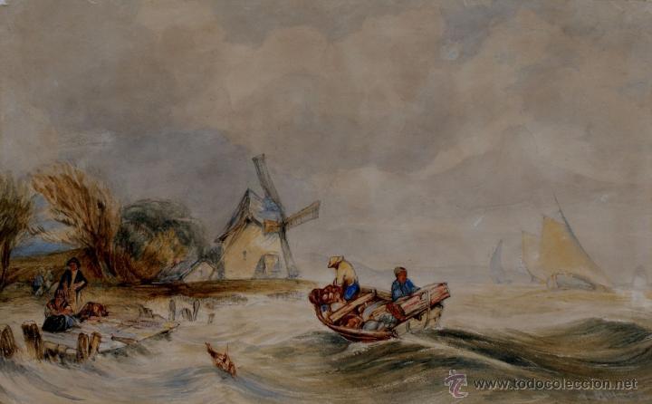 PRECIOSA ACUARELA DEL SIGLO XIX - ORIGEN HOLANDÉS - FIRMADA: V. MULLER (Arte - Acuarelas - Modernas siglo XIX)