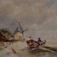 Arte: PRECIOSA ACUARELA DEL SIGLO XIX - ORIGEN HOLANDÉS - FIRMADA: V. MULLER. Lote 48521148