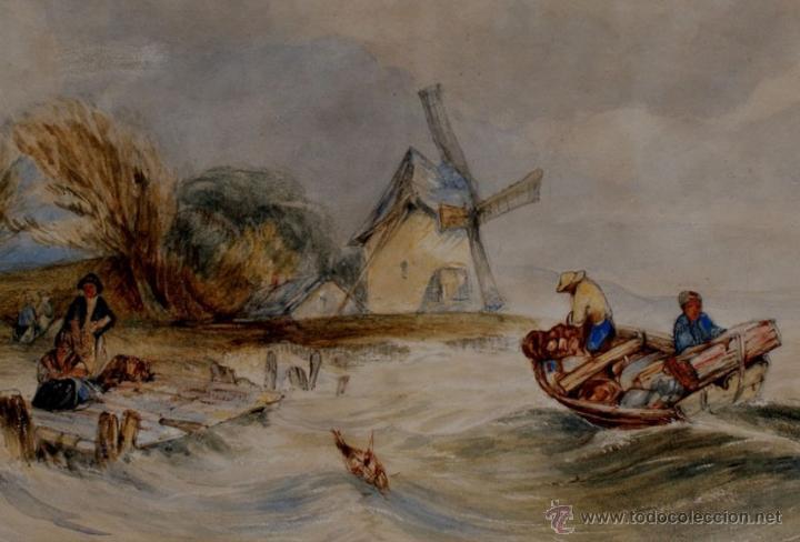 Arte: Preciosa Acuarela del Siglo XIX - Origen Holandés - Firmada: V. Muller - Foto 2 - 48521148