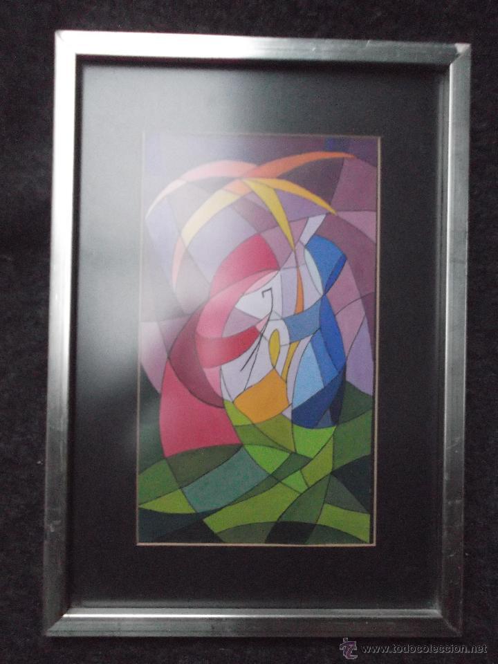DIBUJO DE SAGRADA FAMILIA EN ACUARELA OPACA O ACRILICO SOBRE PAPEL, ENMARCADO-. (Arte - Acuarelas - Contemporáneas siglo XX)