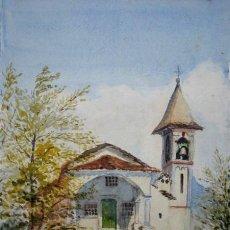 Arte: BONITA ACUARELA ORIGINAL - IGLESIA DE SAN MARTINO, LAGO DI COMO ( ITALIA ). Lote 48567388