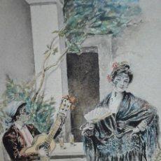 Arte: PRECIOSA ACUARELA COSTUMBRISTA ENMARCADA Y FIRMADA J.OROZCO,1905. Lote 48649878