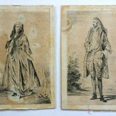Arte: MAGISTRAL PAREJA DE RETRATOS ORIGINALES EN ACUARELA, FINALES DEL XVII, GRAN MINUCIOSIDAD. Lote 48734139