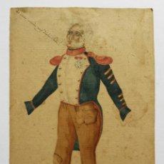Arte: EXCELENTE RETRATO ORIGINAL EN ACUARELA DE UN SOLDADO CON UN UNIFORME, SIGLO XVIII, BONITA CALIGRAFÍA. Lote 48750581