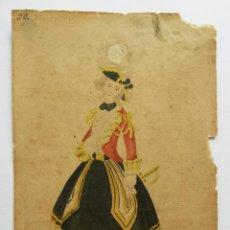 Arte: EXCELENTE RETRATO ORIGINAL EN ACUARELA DE UNA JOVEN SOLDADO CON UN UNIFORME, SIGLO XVIII, CALIDAD. Lote 48750619