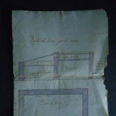 Arte: MINAS.ACUARELA.'PERFIL DEL HORNO POR LO ANCHO' SIGLO XVIII PRINCIPIOS DEL XIX.. Lote 48782731