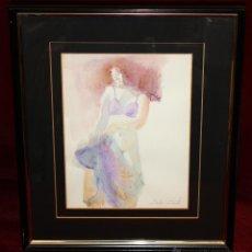 Arte: EMILIA CASTAÑEDA MARTINEZ (MADRID, 1943) ACUARELA SOBRE PAPEL. DAMA SEMIDESNUDA. Lote 49417308
