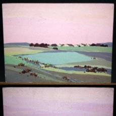 Kunst - Pareja de gouache sobre cartulina 25x33 -Paisajes- Firma ilegible - 49424294