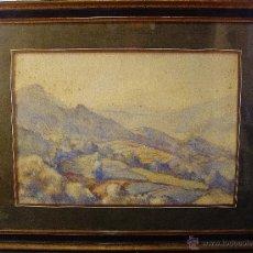 Arte: PAISAJE. ACUARELA SOBRE PAPEL. FIRMADA. AUTOR: ARTUR POTAU TORRE DE MER. HACIA 1945.. Lote 49538905