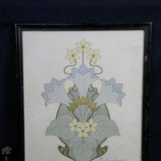 Arte: ACUARELA FLOR Y DORADOS TONOS PASTEL FIRMA R. LOMBARDINI ITALIA 1900 35,5X27,5CMS. Lote 49543967