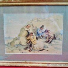 Arte: 'VIGILANDO LA COSTA'. ACUARELA ANTIGUA CON MARCO DORADO ANTIGUO. . Lote 49551847