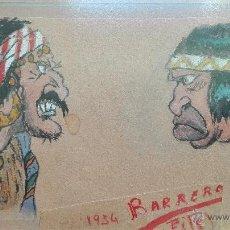 Arte: DIBUJO ORIGINAL DE PERSONAJES INDIOS - BARRERO - VIÑETAS DE PERIODICO ESPAÑOL DE LOS AÑOS 30 -. Lote 49555360