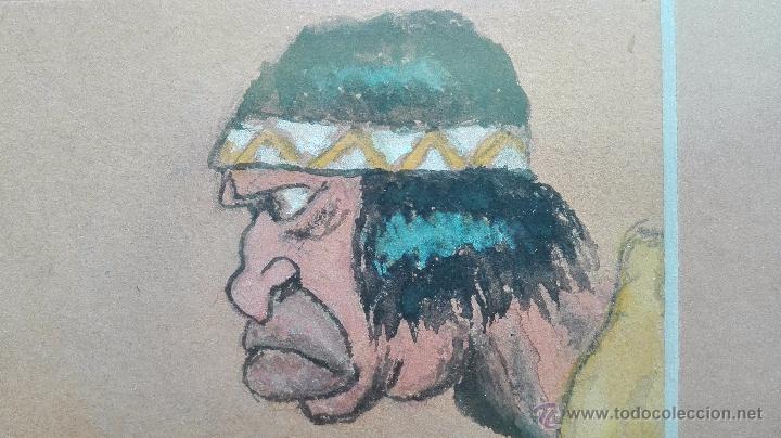 Arte: DIBUJO ORIGINAL DE PERSONAJES INDIOS - BARRERO - VIÑETAS DE PERIODICO ESPAÑOL DE LOS AÑOS 30 - - Foto 4 - 49555360