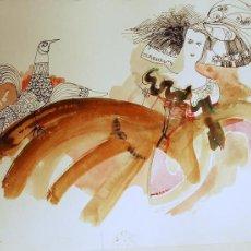 Arte: ÓSCAR ESTRUGA.ACUARELA ORIGINAL.. Lote 24959380