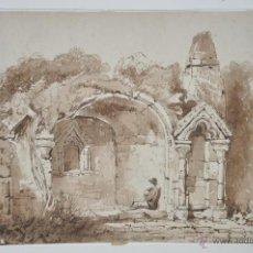 Arte: DIBUJO A TINTA FIRMADO A. MALIGNON DE 1900 APROX.. Lote 49656422