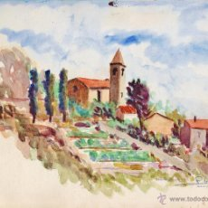 Arte: ACUARELAS ORIGINALES - PAISAJES - AUT. P. GIAÑEN O - REVERSO OTRA ACUARELA - VER FOTO - AÑO 1954. Lote 49860299