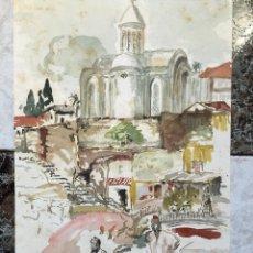 Arte: ACUARELA ORIGINAL ORIENTALISTA FIRMADA Y DE 1955. Lote 49891422