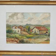 Arte: GRAN ACUARELA DE JUAN AROSTEGUI BARBIER. (1899-1988). PAISAJE RURAL. VALLE DE LARRAUN ? NAVARRA?. Lote 49899573