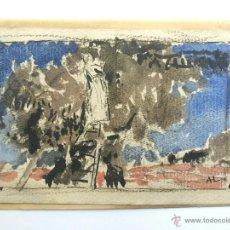 Arte: EXCELENTE PAISAJE IMPRESIONISTA, ACUARELA ORIGINAL, BONITA PINCELADA, FIRMADO A. L.. Lote 49937528