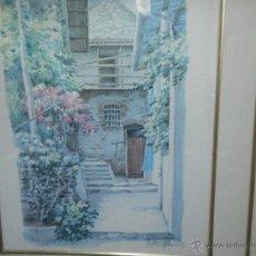 Arte: INTERESANTE ACUARELA PAISAJE PUEBLO FIRMADA. Lote 49955672