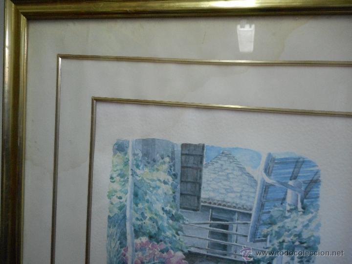Arte: interesante acuarela paisaje pueblo firmada - Foto 5 - 49955672