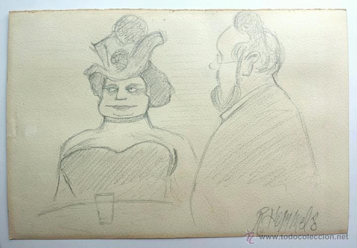 INTERESANTE RETRATO ORIGINAL FIRMADO R. HOMMELS, EXCELENTE TRAZO, CALIDAD (Arte - Acuarelas - Modernas siglo XIX)