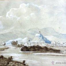 Arte: EXCELENTE PAISAJE ORIGINAL DE FIENALES DEL SIGLO XIX, GRAN DETALLE Y CALIDAD. Lote 50148309