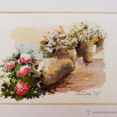 Arte: MERCÈ BEGUÉ (ARTISTA DE LLEIDA). ACUARELA SOBRE PAPEL. 12,5 CM X 17,5 CM. FLORES.. Lote 50178156
