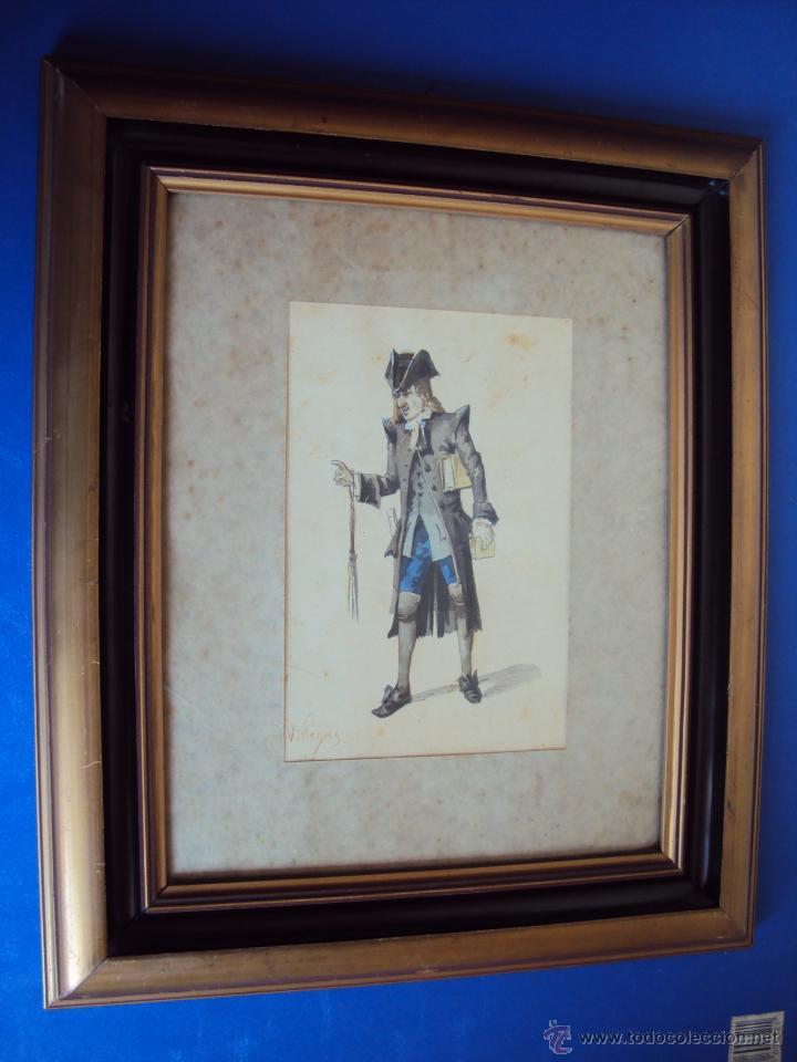 (PINT-010)DIBUJO ORIGINAL A LAPIZ Y ACUARELA REALIZADO POR EL PINTOR JOSE VILLEGAS CORDERO,1844-1921 (Arte - Acuarelas - Modernas siglo XIX)