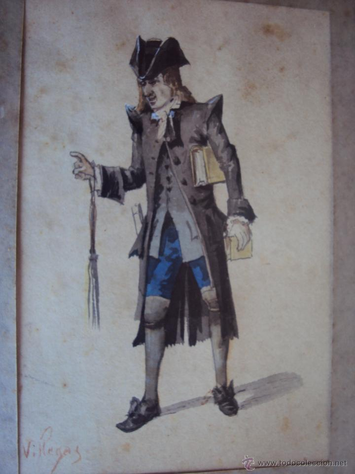Arte: (PINT-010)DIBUJO ORIGINAL A LAPIZ Y ACUARELA REALIZADO POR EL PINTOR JOSE VILLEGAS CORDERO,1844-1921 - Foto 2 - 50385415